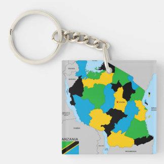 Politische Kartenflagge Tansania-Landes Schlüssel Anhänger