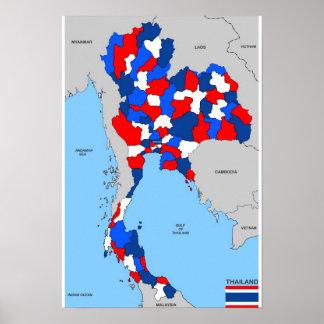 politische Kartenflagge Thailand-Landes Plakate