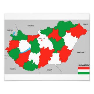 politische Kartenflagge Ungarn-Landes Fotos