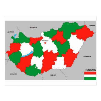 politische Kartenflagge Ungarn-Landes Postkarte
