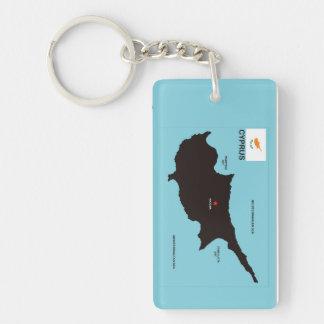 Politische Kartenflagge Zypern-Landes Einseitiger Rechteckiger Acryl Schlüsselanhänger