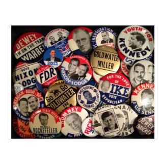 Politische Knöpfe Postkarte