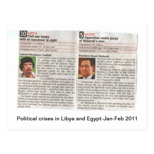 Politische Krisen in Ägypten und in Libyen Postkarte