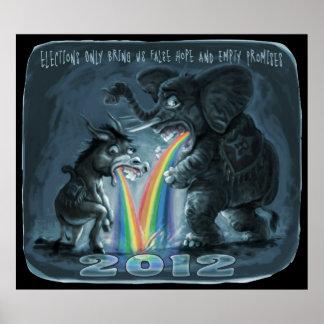 Politische Tiere, die Regenbogen kotzen Poster