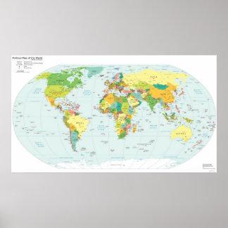 Politische Weltkarte u. entsprechende Netz-Suffixe Poster