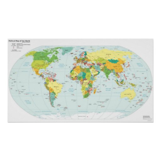 Politische Weltkarte u. entsprechende Netz-Suffixe Posterdrucke