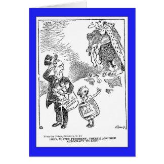 Politischer Cartoon 1919 Grußkarte