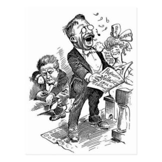 Politischer Cartoon Theodore Roosevelt 1912 Postkarte
