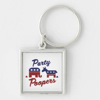 Politisches Party Poopers Silberfarbener Quadratischer Schlüsselanhänger