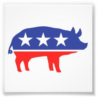 Politisches Party-Schwein-Maskottchen Fotografischer Druck