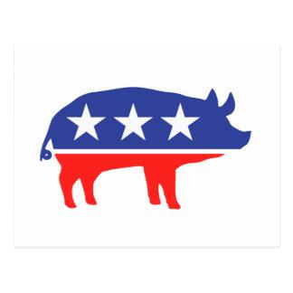 Politisches Party-Schwein-Maskottchen Postkarte