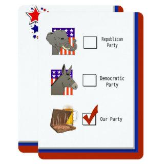 Politisches Wahl-NachtParty 12,7 X 17,8 Cm Einladungskarte