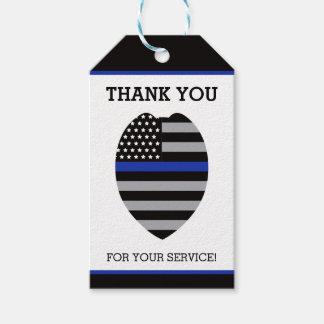 Polizei dankt Ihnen zu etikettieren, dünnes Blue Geschenkanhänger
