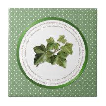 Polka-Punkt-Blumen-Bedeutungen - Efeu Keramikfliese
