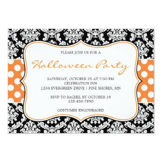 Polka-Punkt-Damast-Halloween-Party-Einladungen Karte