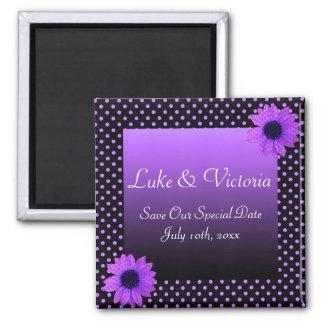 Polka-Punkt-Gänseblümchen-lila Hochzeit Quadratischer Magnet