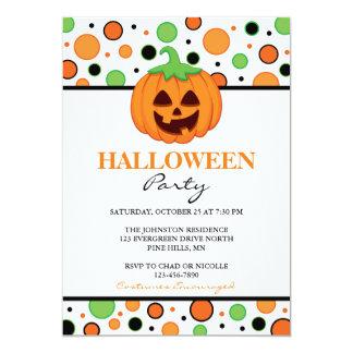 Polka-Punkt-Kürbis-Halloween-Party-Einladungen Karte