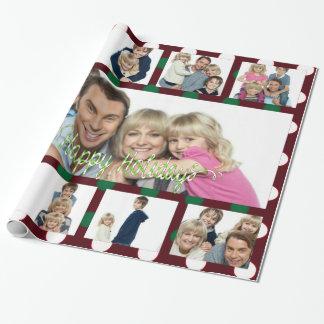 Polka-Punkt-Weihnachtspersonalisierte Collage Geschenkpapier