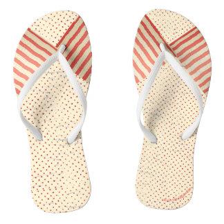 Polka-Punkte und Streifen verblaßten Vintager Flip Flops