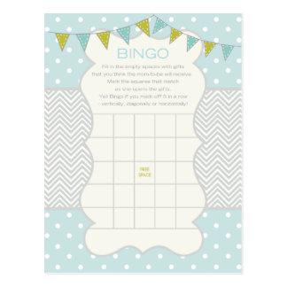 Polka-Punkte und Zickzack Baby-Duschen-Bingo Postkarte