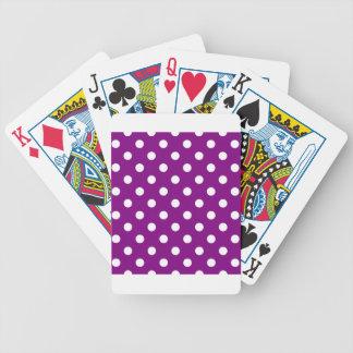 Polka-Punkte - Weiß auf Lila Bicycle Spielkarten
