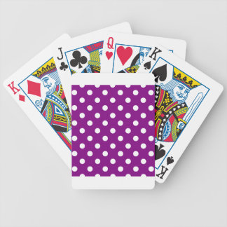 Polka-Punkte - Weiß auf Lila Pokerkarten