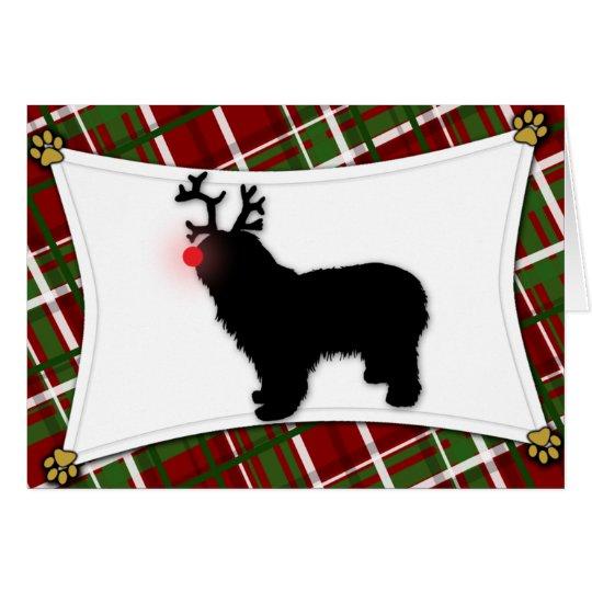 Polnische Tiefland-Schäferhund-Ren-Weihnachtskarte Karte