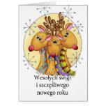Polnische Weihnachtskarte - Ren - Wesołych świąt Grußkarte