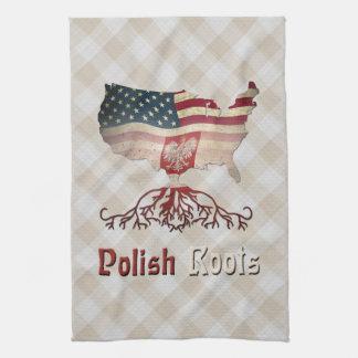 Polnischer Amerikaner wurzelt Tee-Tücher Handtuch