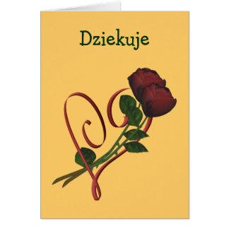 Polnischer Dziekuje danken Ihnen, Rosen-Herz zu Mitteilungskarte