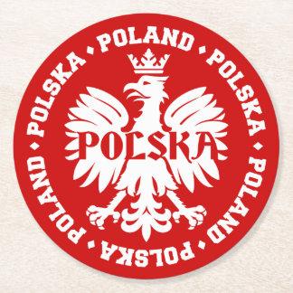 Polnisches Polska Eagle Emblem Runder Pappuntersetzer