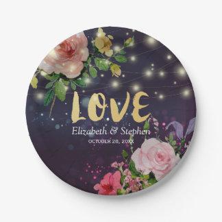 Polterabend-elegantes lila Schein-mit Blumenlicht Pappteller