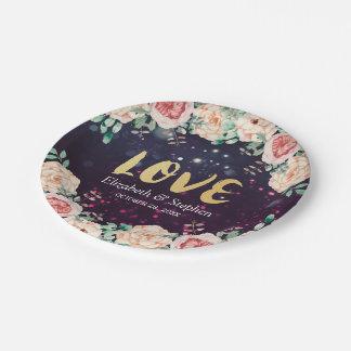 Polterabend-moderne lila Schein-mit Blumenlichter Pappteller