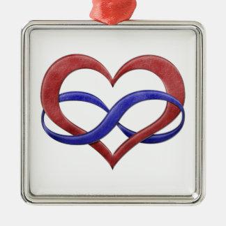 Polyamory Stolz-Unendlichkeits-Herz Silbernes Ornament