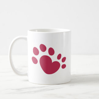 Polydactyl Katzen-Tatzen-Druck-Herz Kaffeetasse
