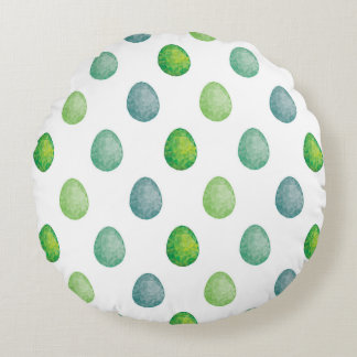 Polygonales Eimuster in den grünen Farben Rundes Kissen