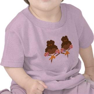 Pom-pom girl mignon de jumeaux t-shirt