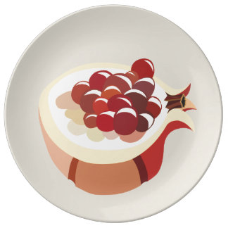 Pomegranate fruit illustration porzellanteller