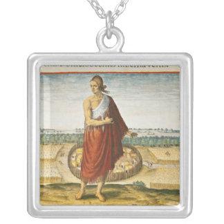 Pomeiooc Ältestes in einem Winterkleid Halskette Mit Quadratischem Anhänger