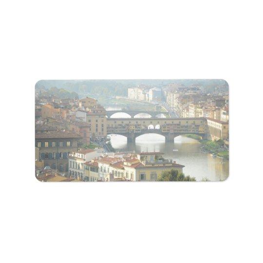 Ponte Vecchio alte Brücke Florenz Italien Adressetikett