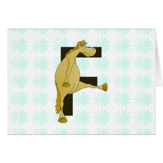 Pony des Monogramm-Buchstabe-F Karte