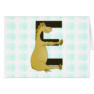 Pony-Monogramm-Buchstabe E personalisiert Karte