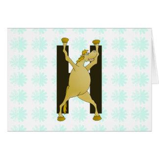 Pony-Monogramm-Buchstabe H personalisiert Karte