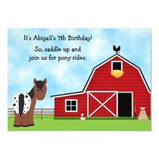 Pony reitet Reiten-Geburtstags-Einladung 12,7 X 17,8 Cm Einladungskarte