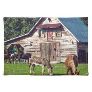 Ponys auf dem Bauernhof Stofftischset