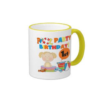 Pool-Party-1. Geburtstags-T - Shirts und Geschenke Ringer Tasse