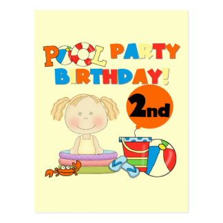 Pool-Party-2. Geburtstags-T-Shirts und Geschenke Postkarte