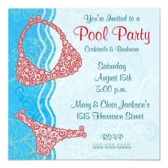 Pool-Party Einladung   Zazzle.ch