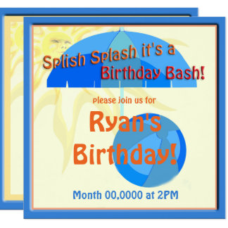 Pool-Party-Kindergeburtstag Splish Spritzen laden Quadratische 13,3 Cm Einladungskarte