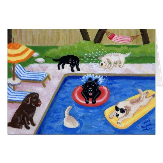 Pool-Party Labradors Spaß-Malerei danken Ihnen zu Karte